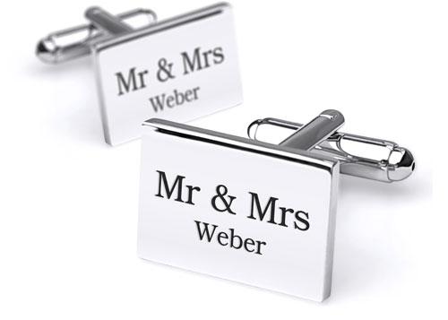 mr. en mrs. manchetknopen gepersonaliseerd