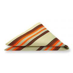 pochet beige oranje strepen