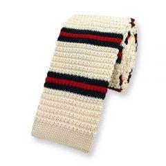 stropdas gebreid beige gestreept