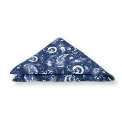pochet blauw witte print