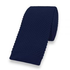 gebreide stropdas dark navy effen