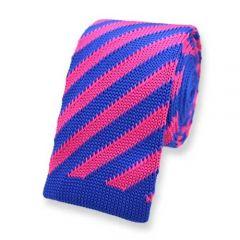 gebreide stropdas blauw roze gestreept