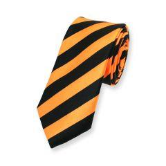 stropdas strepen oranje zwart smal