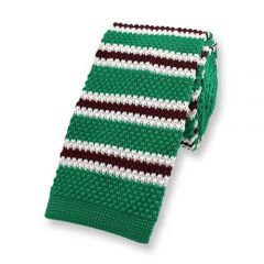 stropdas gebreid groen geel gestreept