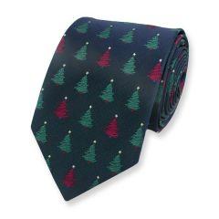 Kerststropdas Kerstboom Donkerblauw 7cm