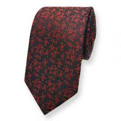 Krawatte schwarz rot Blumen