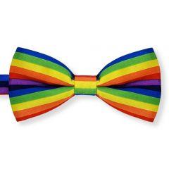 vlinderstrik met regenboog print in blauw, groen, geel, rood, paars en oranje