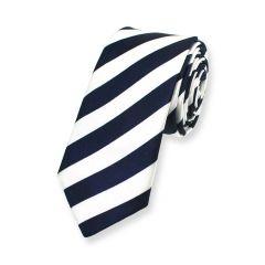 stropdas strepen donkerblauw wit smal