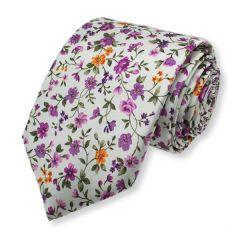 stropdas bloemen paars wit