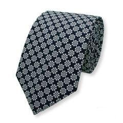 stropdas bloemen donkerblauw wit