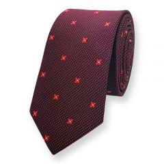 stropdas donkerrood rood bloemmotief