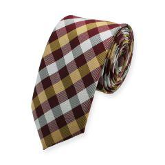 stropdas geblokt donkerrood goud wit zwart