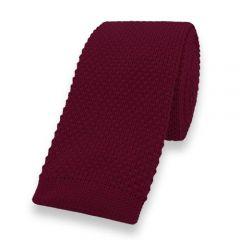 gebreide stropdas donkerrood effen