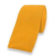 gebreide stropdas okergeel effen