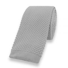 gebreide stropdas grijs effen