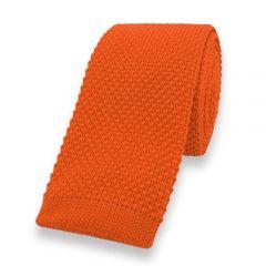 gebreide stropdas oranje effen