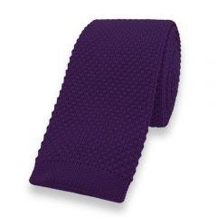 gebreide stropdas paars effen