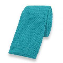 gebreide stropdas turquoise effen