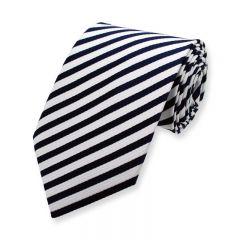 stropdas strepen marineblauw wit smal