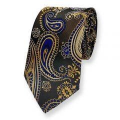 stropdas goud donkerblauw paisley