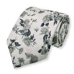 stropdas grijs bloemen zijde