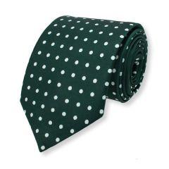 stropdas donkergroen wit stippen zijde