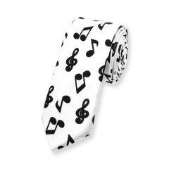 witte stropdas met zwarte muzieknoten