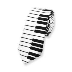 piano stropdas wit zwart smal