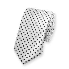 stropdas polka dot stippen wit zwart smal