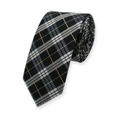 stropdas ruiten zwart wit goud 6cm