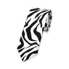 stropdas zebrastrepen zwart wit smal