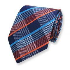 stropdas blauw oranje geruit