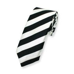 stropdas zwart wit strepen smal