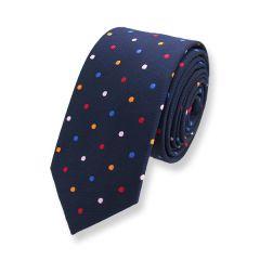 stropdas donkerblauw gekleurde stippen