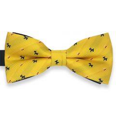 vlinderstrik geel met honden print