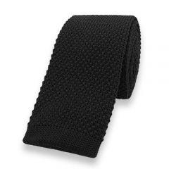 gebreide stropdas zwart effen
